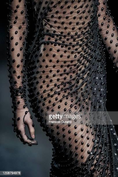 Model, fashion detail, walks the runway during the Mugler show as part of the Paris Fashion Week Womenswear Fall/Winter 2020/2021 on February 26,...