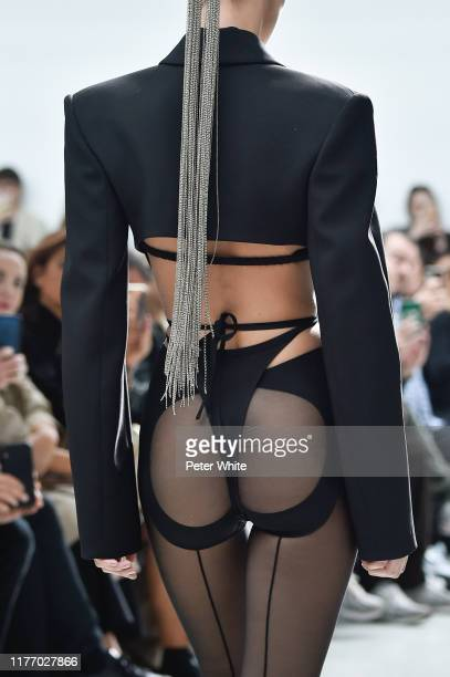 Model, fashion detail, walks the runway during the Mugler Womenswear Spring/Summer 2020 show as part of Paris Fashion Week on September 25, 2019 in...