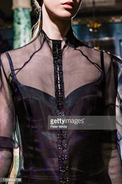 Model, fashion detail, walks the runway during the Oliver Theyskens show as part of the Paris Fashion Week Womenswear Fall/Winter 2020/2021 on...