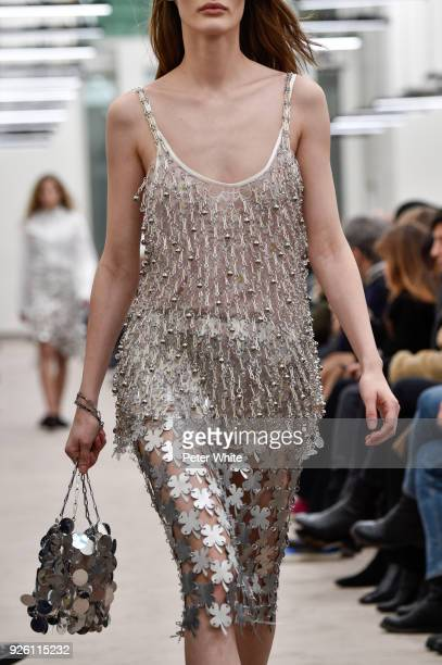 Model, fashion detail, walks the runway during the Paco Rabanne show as part of the Paris Fashion Week Womenswear Fall/Winter 2018/2019 on March 1,...