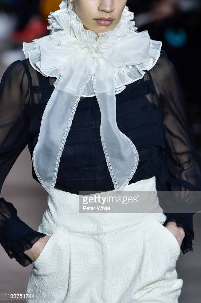 A model fashion detail walks the runway during the Shiatzy Chen show as part of the Paris Fashion Week Womenswear Fall/Winter 2019/2020 on March 04...