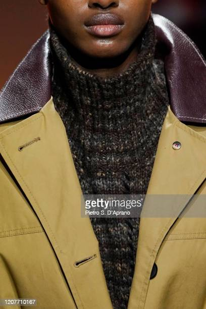 Model, fashion detail, walks the runway during the Tod's fashion show as part of Milan Fashion Week Fall/Winter 2020-2021 on February 21, 2020 in...