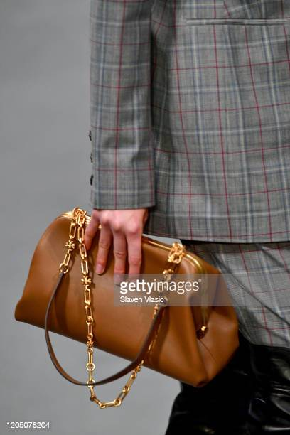 Model, fashion detail, walks the runway during the Tory Burch Fall Winter 2020 Fashion Show at Sotheby's on February 09, 2020 in New York City.