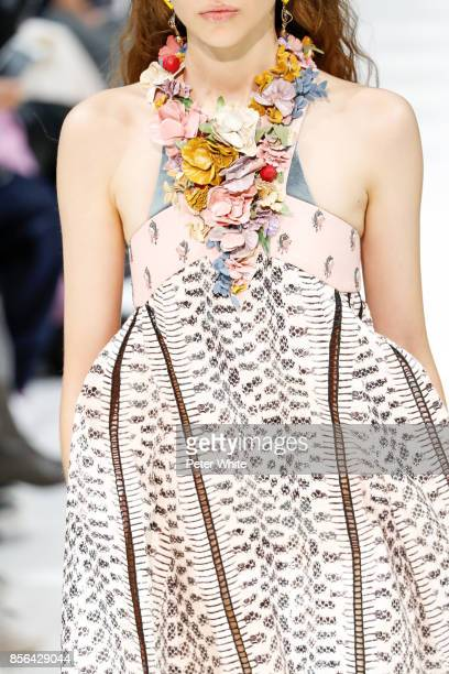 A model fashion detail walks the runway during the Valentino show as part of the Paris Fashion Week Womenswear Spring/Summer 2018 on October 1 2017...