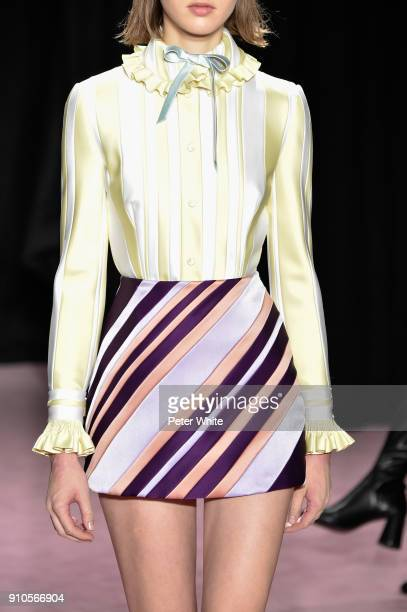 Model, fashion detail, walks the runway during the Viktor & Rolf Spring Summer 2018 show as part of Paris Fashion Week on January 24, 2018 in Paris,...