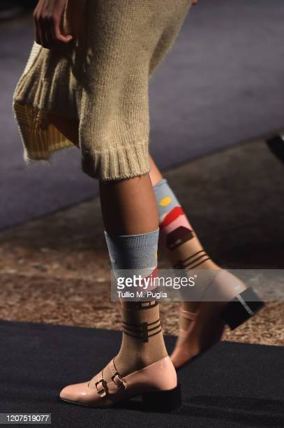 Model, fashion detail, walks the runway during the Vivetta fashion show as part of Milan Fashion Week Fall/Winter 2020-2021 on February 20, 2020 in...