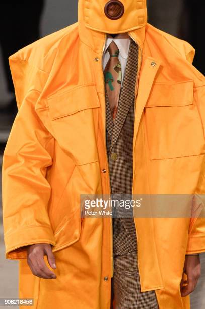A model fashion detail walks the runway during the Walter Van Beirendonck Menswear Fall/Winter 20182019 show as part of Paris Fashion Week on January...