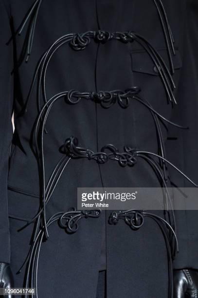 Model, fashion detail, walks the runway during the Yohji Yamamoto Menswear Fall/Winter 2019-2020 show as part of Paris Fashion Week on January 17,...