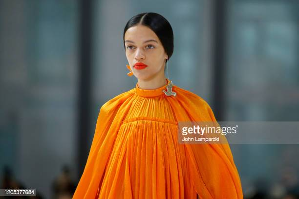 Model, fashion detail, walks the runway for Carolina Herrera during New York Fashion Week on February 10, 2020 in New York City.