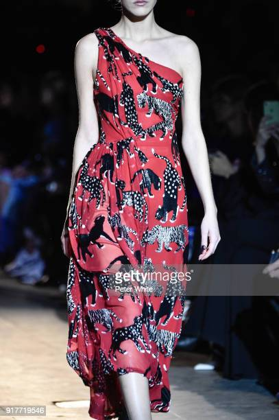 A model fashion detail walks the runway for Carolina Herrera during New York Fashion Week at The Museum of Modern Art on February 12 2018 in New York...