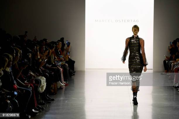 A model fashion detail walks the runway for Marcel Ostertag during New York Fashion Week The Shows at Gallery II at Spring Studios on February 14...