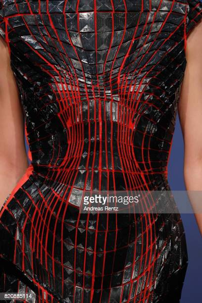A model fashion detail walks the runway for 'Rachel Nhan' at the 3D Fashion Presented By Lexus/Voxelworld show during Platform Fashion July 2017 at...