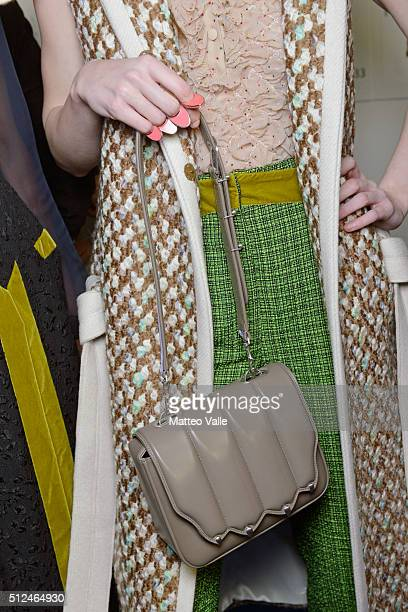 A model fashion details backstage ahead of the Marco De Vincenzo show during Milan Fashion Week Fall/Winter 2016/17 on February 26 2016 in Milan Italy