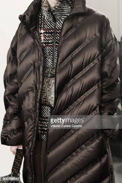 A model fashion details is seen backstage ahead of the Fendi show during Milan Men's Fashion Week Fall/Winter 2018/19 on January 15 2018 in Milan...