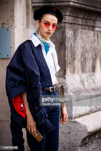 Model, fashion details, is seen outside the Beautiful People show during Paris Fashion Week - Womenswear Spring Summer 2020 on September 30, 2019 in...