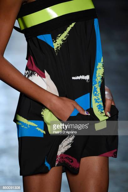 A model fashion details walks the runway at the Byblos show during Milan Fashion Week Spring/Summer 2018 on September 20 2017 in Milan Italy