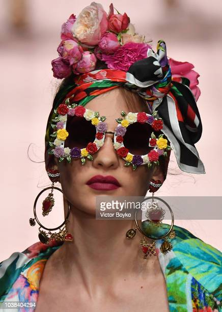 A model fashion details walks the runway at the Dolce Gabbana show during Milan Fashion Week Spring/Summer 2019 on September 23 2018 in Milan Italy