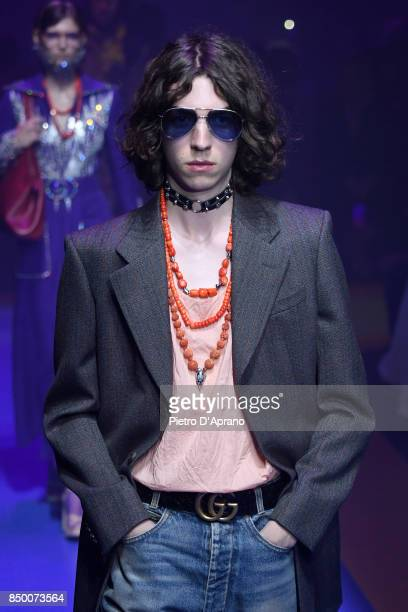 A model fashion details walks the runway at the Gucci show during Milan Fashion Week Spring/Summer 2018 on September 20 2017 in Milan Italy