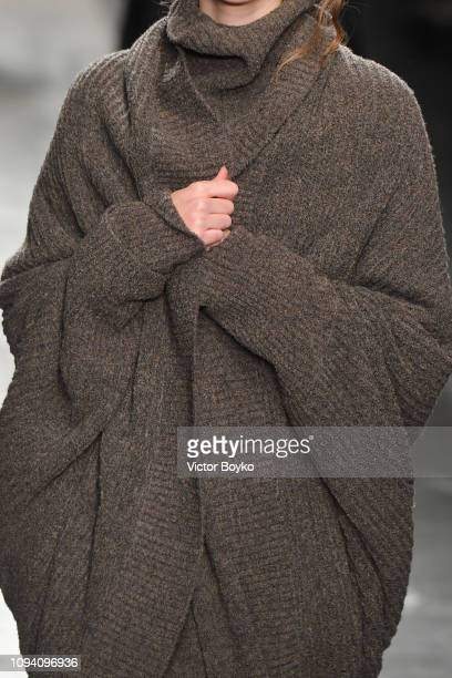 Model, fashion details, walks the runway at the Sartorial Monk show during Milan Menswear Fashion Week Autumn/Winter 2019/20 on January 14, 2019 in...
