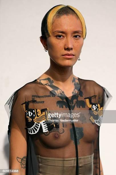 Model Fa'Velapunk is seen backstage ahead of the Sadak show during the MercedesBenz Fashion Week Berlin Autumn/Winter 2016 at Brandenburg Gate on...