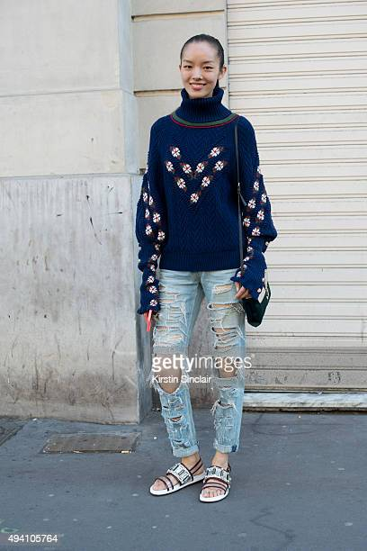 Model Fei Fei Sun on day 3 during Paris Fashion Week Spring/Summer 2016/17 on October 1 2015 in London England