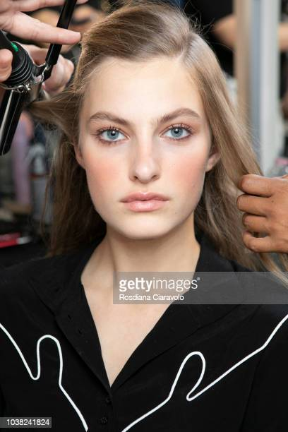 Model Felice Noordhoff is seen backstage ahead of the Philosophy Di Lorenzo Serafini show during Milan Fashion Week Spring/Summer 2019 on September...