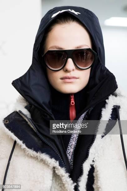 Model Felice Nova Noordhoff is seen backstage ahead of the Sportmax show during Milan Fashion Week Fall/Winter 2018/19 on February 23 2018 in Milan...
