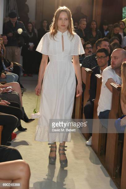 Model Fern Bain Smith walks the runway at the ALEXACHUNG London Launch Summer 17 Collection Reveal at the Danish Church of Saint Katharine on May 30...