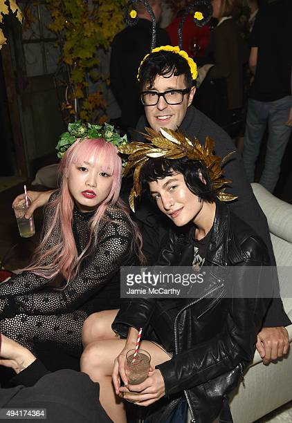Model Fernanda Ly Teen Vogue Style Director Andrew Bevan and model Heather Kemesky attend as Teen Vogue and Aerie celebrate Emma Roberts November...