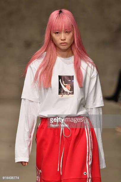 Model Fernanda Ly walks the runway wearing the LiNing Fall/Winter 2018 collection during 2018 New York Fashion Week at Skylight Modern on February 7...