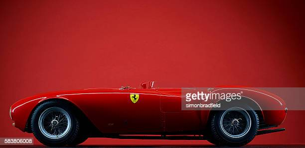 model ferrari 375 plus on red - ferrari stock pictures, royalty-free photos & images