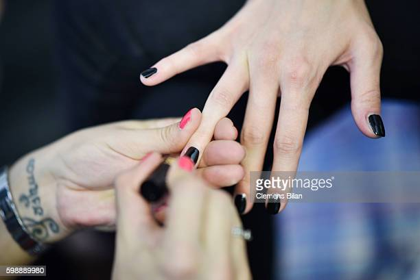 A model finger nail detail is seen backstage ahead of the Selected Femme/Homme fashion show during the Bread Butter by Zalando at arena Berlin on...