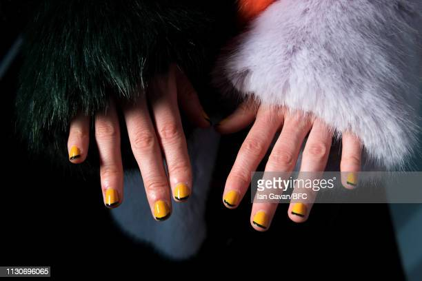 Model, fingernail detail, backstage ahead of the Roberta Einer show during London Fashion Week February 2019 at the BFC Show Space on February 19,...