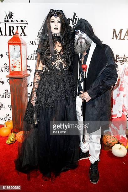 Model Fiona Erdmann and DJ Senay Gueler attend the Halloween party by Natascha Ochsenknecht at Berlin Dungeon on October 27 2016 in Berlin Germany