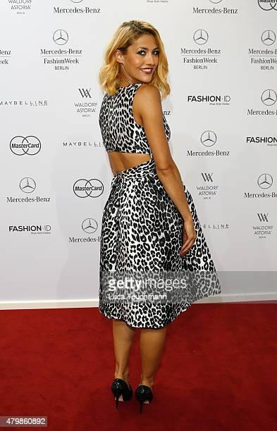 Model Fiona Erdmann attends the Sadak show during the MercedesBenz Fashion Week Berlin Spring/Summer 2016 at Brandenburg Gate on July 8 2015 in...