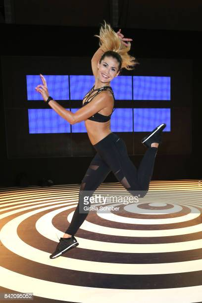 Model Fiona Erdmann presents the Reebok HIT fitness workout during the Bread Butter by Zalando at arena Berlin on September 2 2017 in Berlin Germany