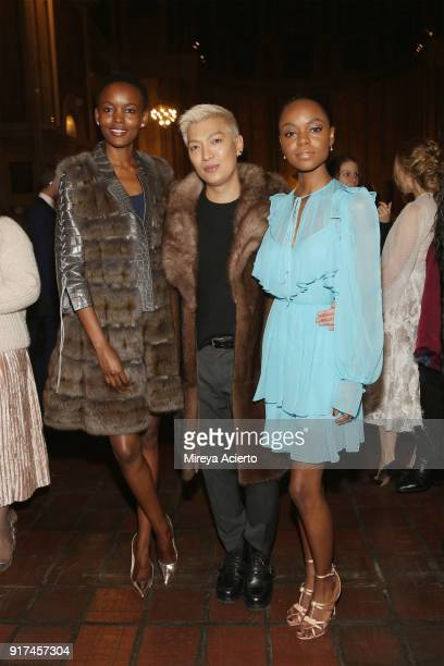 Model Flaviana Matata blogger Bryanboy and actress Ashleigh Murray attend the Dennis Basso fashion show at St Bartholomew's Church on February 12...