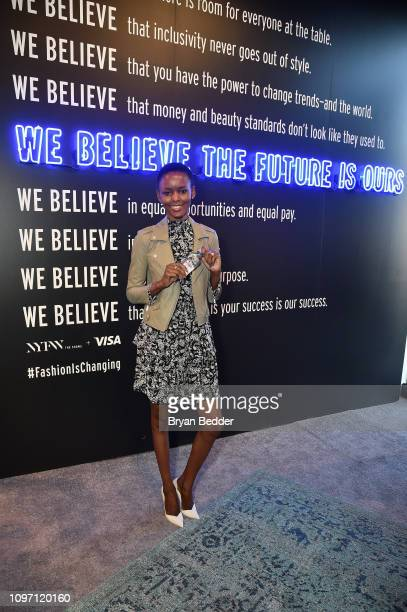 Model Flaviana Matata enjoying evian in front of the Visa NYFW Fashion Manifesto Wall during New York Fashion Week The Shows at Spring Studios on...