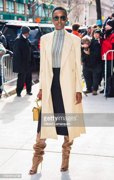 Model Flaviana Matata is seen arriving to the Longchamp Fall/Winter 2020 Runway Show at Hudson Commons on February 08, 2020 in New York City.