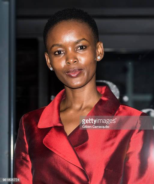 Model Flaviana Matata is seen leaving the BVLGARI world premiere screening of 'The Conductor' and 'The Litas' during the 2018 Tribeca Film Festival...