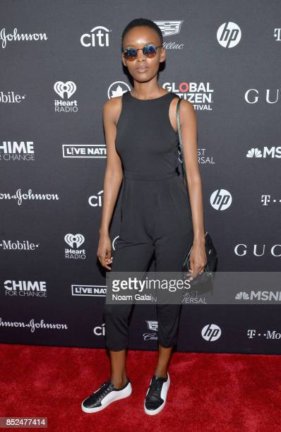 Model Flaviana Matata poses in the VIP Lounge during the 2017 Global Citizen Festival in Central Park on September 23 2017 in New York City