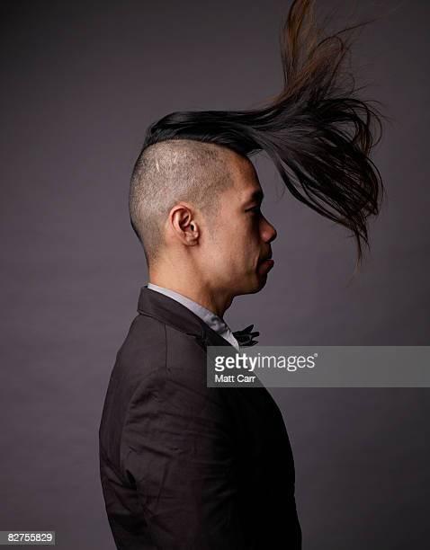 Model flipping up hair