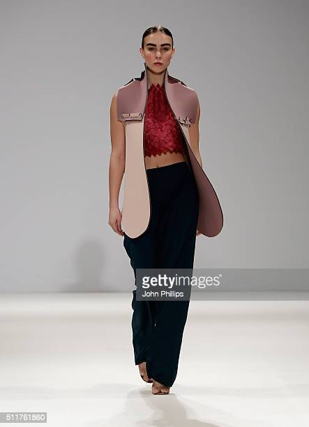 A model for Alice Potts of Norwich University of the Arts runner up at FAD Competition walks the runway at the FAD show at Fashion Scout during...