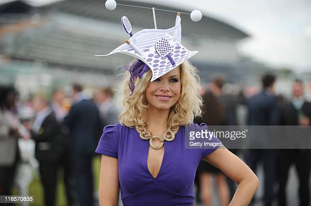 Model for Cadbury poses wearing the Spots V Stripes hat at Ascot on June 16, 2011. Cadbury's the Official Treat Provider of the London 2012 Olympic...