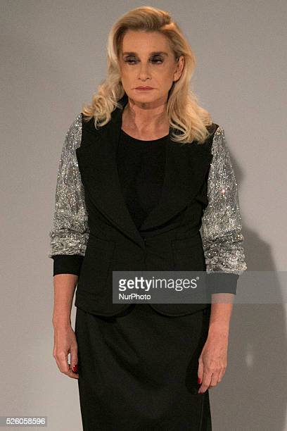Model for designer fashion show Fause Haten the fourth day of Sao Paulo Fashion Week Summer 2016 in C��ndido Portinari park in west region of S��o...