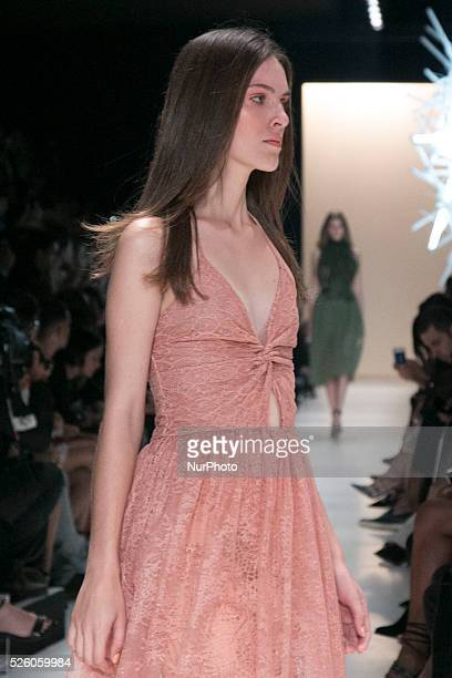 Model for designer fashion show I��dice the fourth day of Sao Paulo Fashion Week Summer 2016 in C��ndido Portinari park in west region of S��o Paulo...