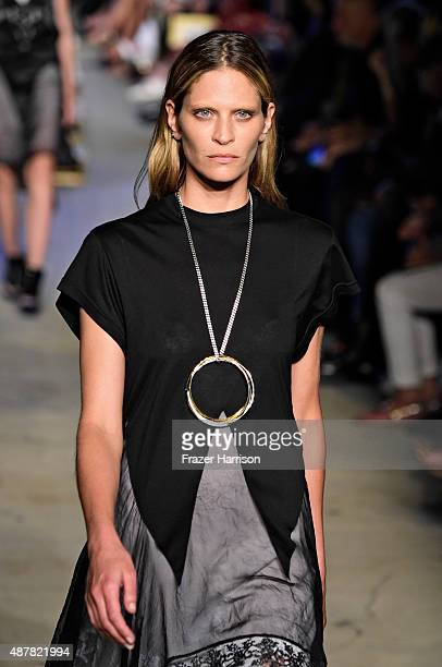 Model Frankie Rayder walks the runway wearing Givenchy Spring 2016 during New York Fashion Week at Pier 26 at Hudson River Park on September 11 2015...