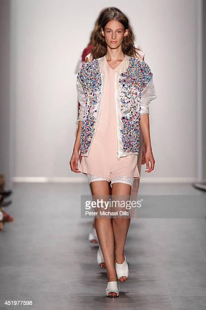 Model Franzi Mueller walk the runway at the Malaikaraiss show during the MercedesBenz Fashion Week Spring/Summer 2015 at Erika Hess Eisstadion on...