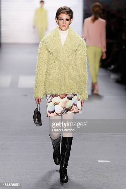 Model Franzi Mueller walks the runway at the Marc Cain show during the MercedesBenz Fashion Week Berlin Autumn/Winter 2015/16 at Brandenburg Gate on...