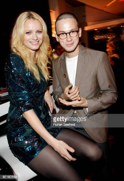 Model Franziska Knuppe and actor Franz Dinda attend the RIM presentation of the new 'BlackBerry Bold' at Kameha Suite on October 21 2009 in Cologne...